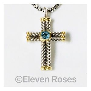 David Yurman Blue Topaz Chevron Cross Necklace